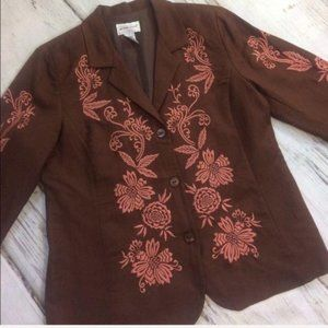 Victor Costa Blazer Jacket Embroidery Flower Large